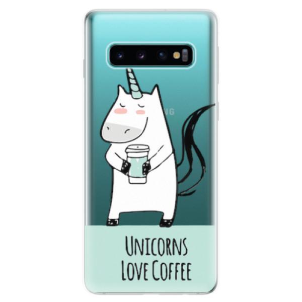 Odolné silikonové pouzdro iSaprio - Unicorns Love Coffee - Samsung Galaxy S10