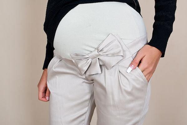 Be MaaMaa Těhotenské kalhoty s mašlí - Béžové - M (38)