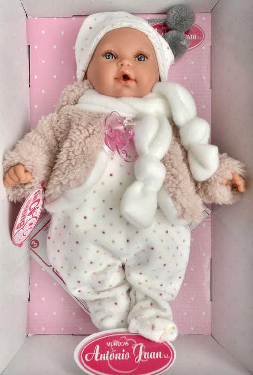 ANTONIO JUAN Panenka miminko Kika 27cm měkké tělíčko pláče na baterie Zvuk