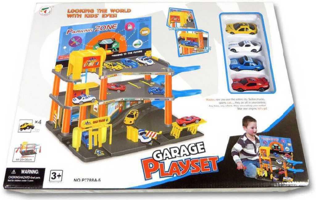 Garáž s příslušenstvím set parkovací dům se 4 autíčky plast v krabici