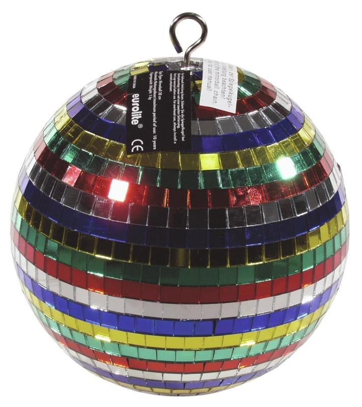Zrcadlová koule barevná 20 cm v barevném kartonu