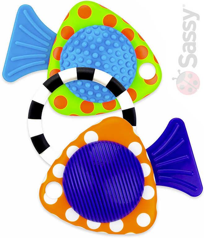SASSY Baby rybičky chrastítko a kousátko se zvukem na kartě pro miminko