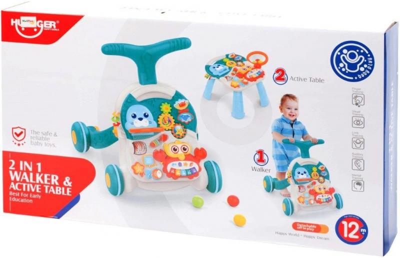 Tulimi Dětské interaktivní chodítko a stoleček Walker 2v1 - s příslušenstvím, modré