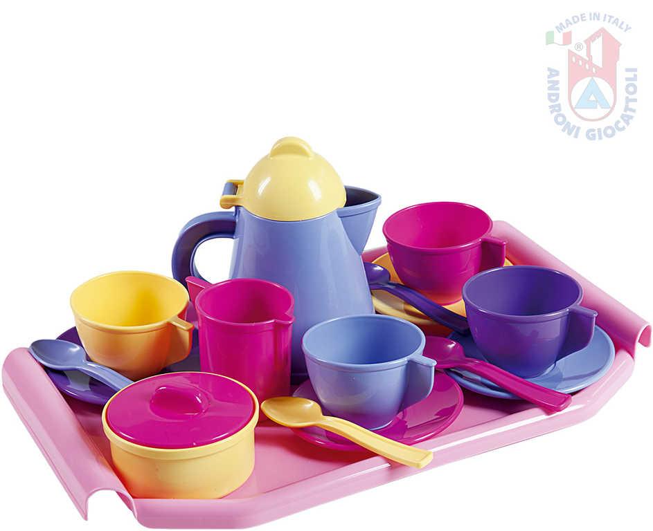 ANDRONI Kávový a čajový set dětské plastové nádobí s podnosem pro holčičky