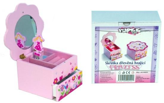 DŘEVO Toaletní skříňka PRINCESS hrající TOALETKA SE ZRCADLEM dětská ŠPERKOVNICE