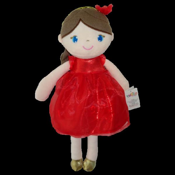 Hadrová panenka Inez, Tulilo, 38 cm - červená