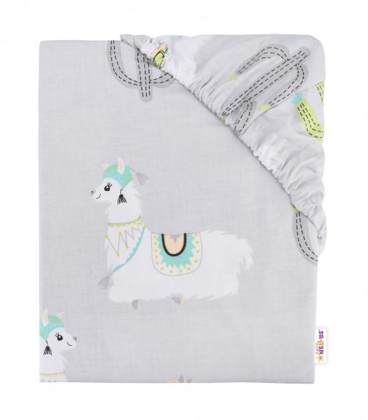 Baby Nellys Dětské bavlněné prostěradlo do postýlky, 140x70 cm - Lama šedá - 140x70