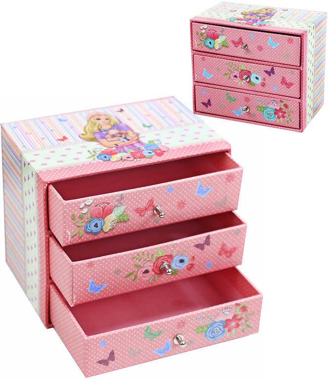 Šperkovnice dětská 3 šuplíčky skříňka na šperky kartonová