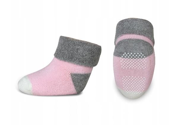 Kojenecké froté ponožky, Risocks protiskluzové - šedá/růžová/bílá - 68-80 (6-12m)