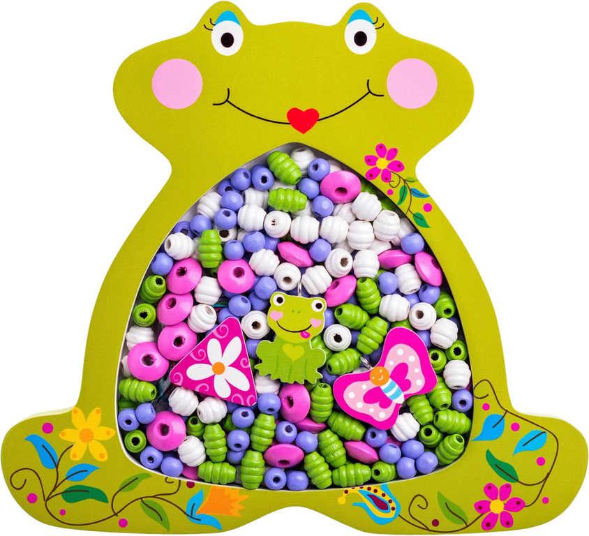 WOODY DŘEVO Korálky navlákací rámeček žabka set s barevnými provázky 2v1