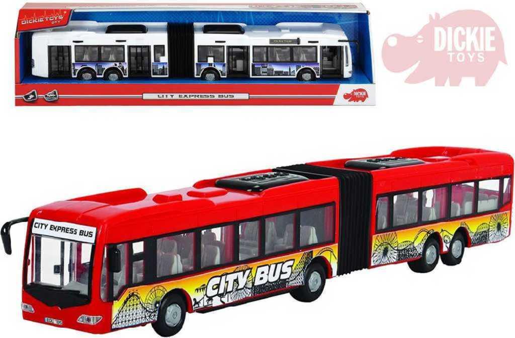 DICKIE Autobus City Express 46cm plastový na setrvačník funkční dveře - 2 barvy