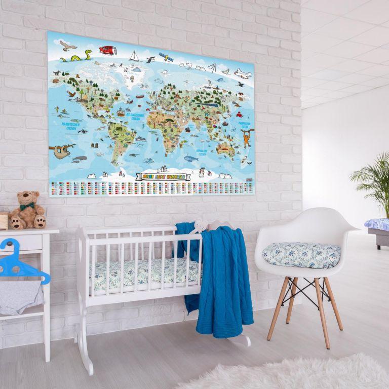 Dětská vzdělávací mapa světa 140 x 100 cm - anglický jazyk