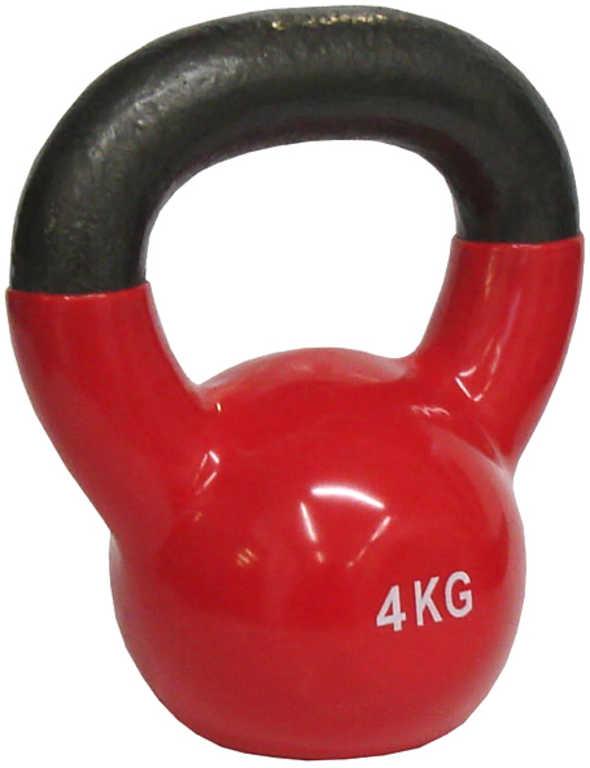 ACRA Činka jednoruční Kettlebell vinylový potah 4 kg červená