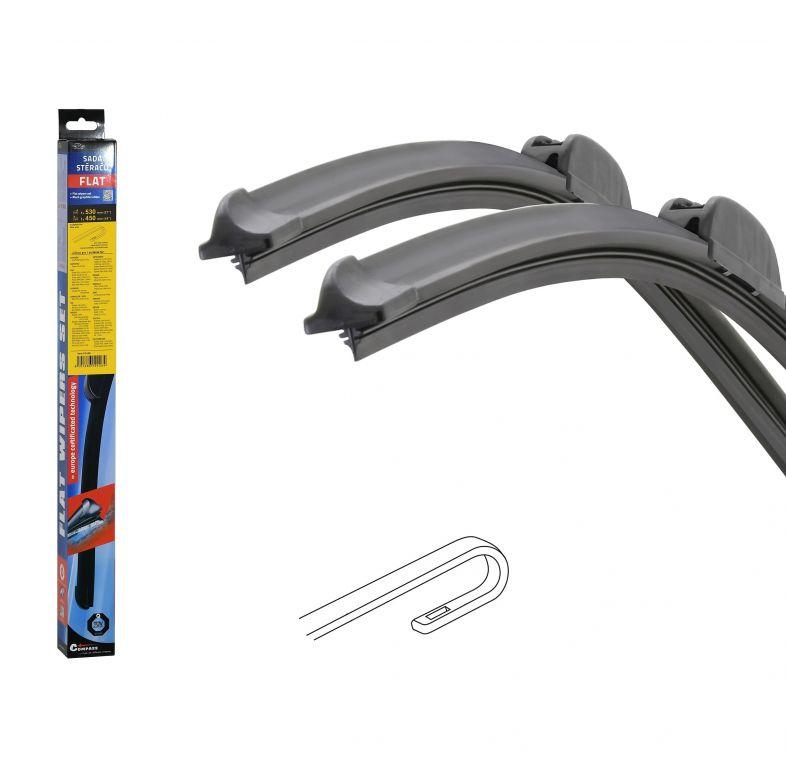 Stěrače FLAT SET (HOOK) 530 + 450 mm