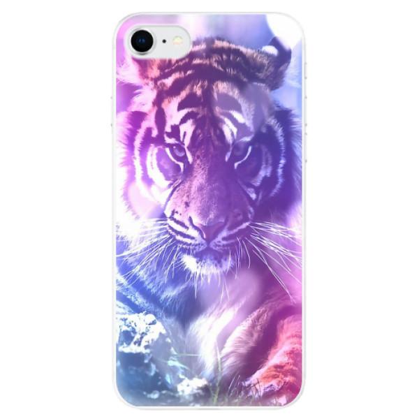 Odolné silikonové pouzdro iSaprio - Purple Tiger - iPhone SE 2020