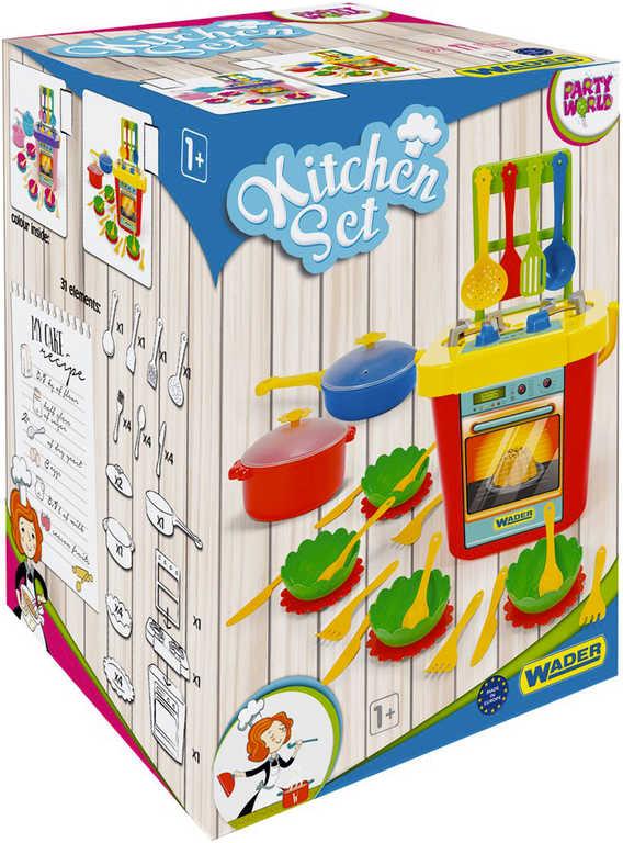 WADER Kuchyň dětská Party World set s nádobím 31ks v krabici plast