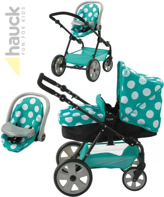 HAUCK Set Icoo kočárek/autosedačka 3v1 zelenomodrý pro panenku miminko