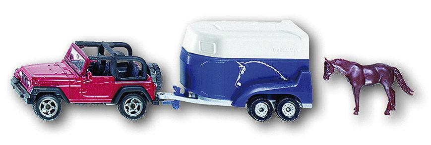SIKU Auto Jeep Wrangler s přívěsem pro koně značky kovový model 1651