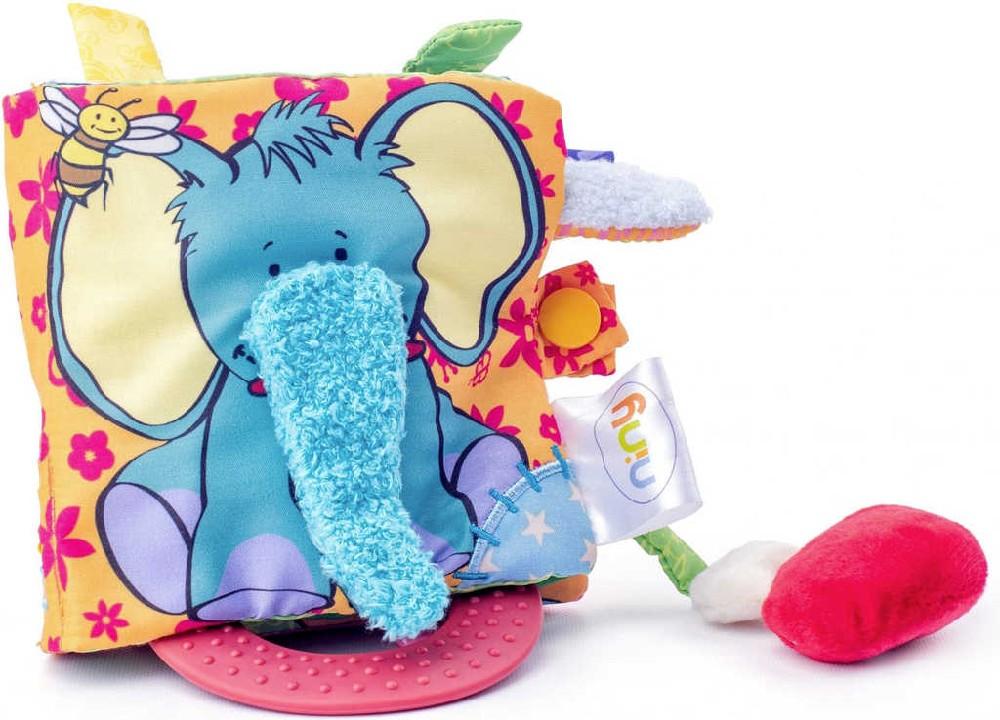 NINY Baby moje první knížka kousátko chrastítko textilní pro miminko