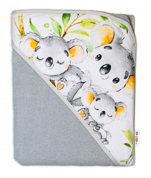 detska-termoosuska-s-kapuci-baby-nellys-medvidek-koala-100-x-100-cm-seda