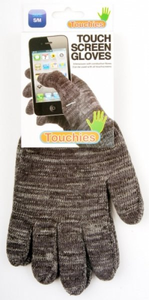 Rukavice na ovládání dotykových displejů - šedé - velikost L