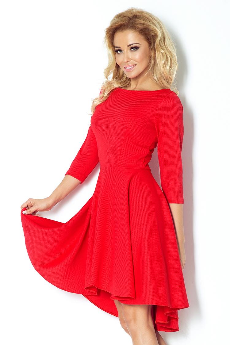 Červené šaty s 3/4 rukávy 90-4