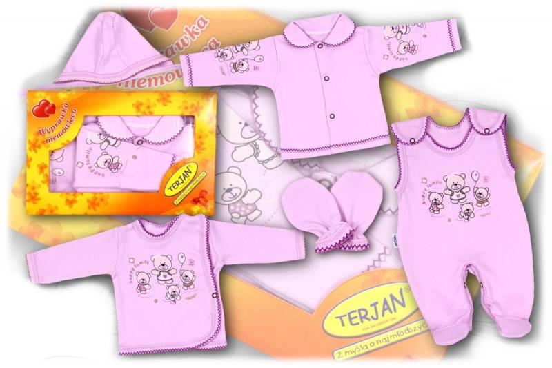 Soupravička do porodnice v krabičce Terjan - fialový méďa