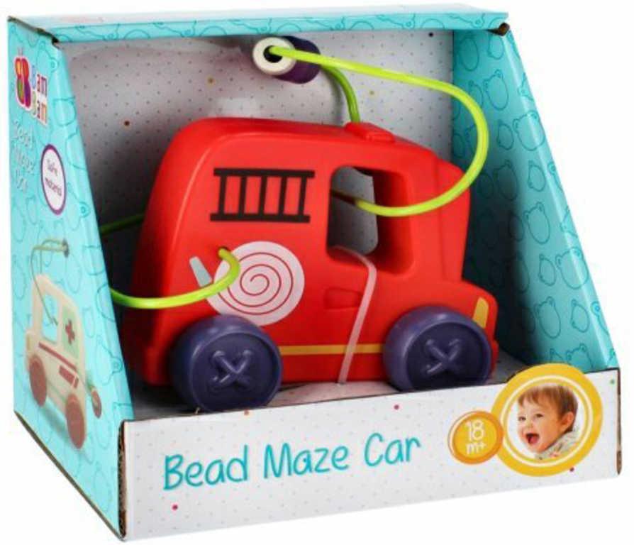 BAM BAM Baby auto hasiči na setrvačník labyrint motorický s korálky plast