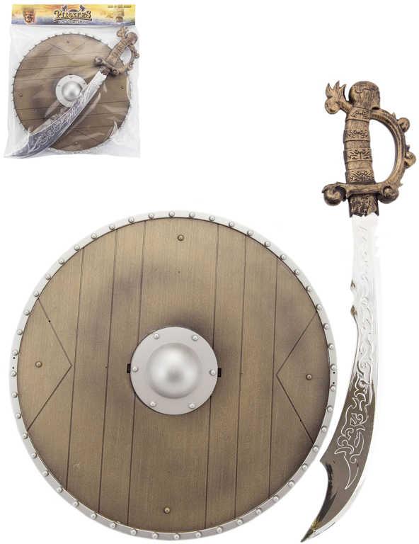 Set meč dětský 40cm + štít kulatý plastový pirátský v sáčku
