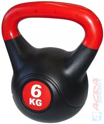 ACRA Činka kettlebell s cementovou náplní 6 kg černo-červená