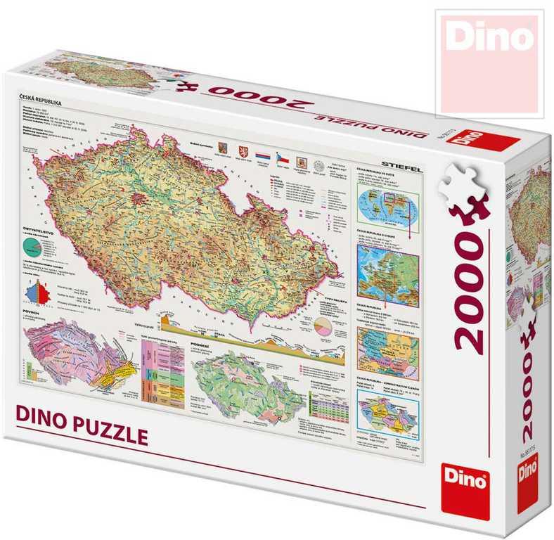DINO Puzzle 2000 dílků Mapa České Republiky 97x69cm skládačka v krabici