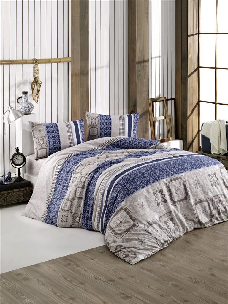 Povlečení francouzské bavlna 220x220,70x90 Scarlet blue, Výběr zapínání: