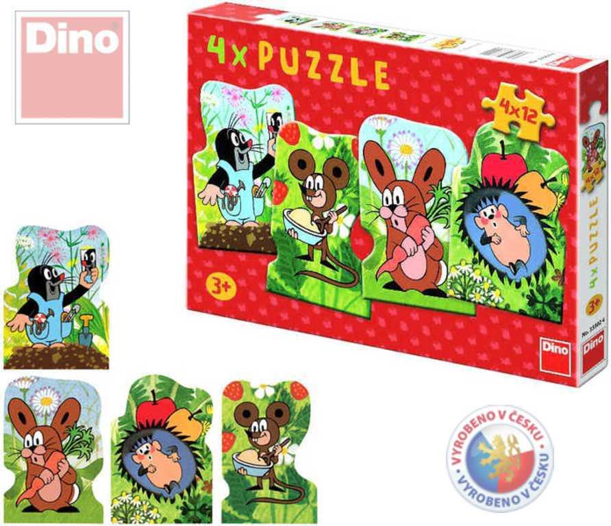 DINO Puzzle 4 x 12 dílků KRTEK a kamarádi Krteček