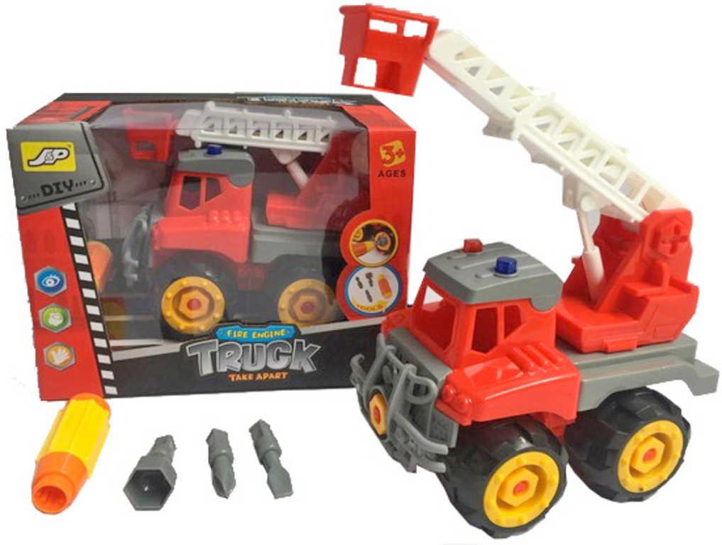 Auto hasiči s výsuvným žebříkem šroubovací set s nástrojem a 3 nástavci
