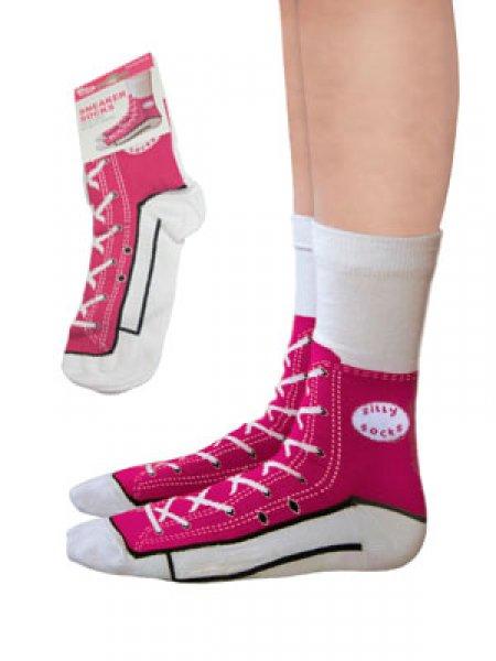 Bláznivé ponožky - basket - růžová