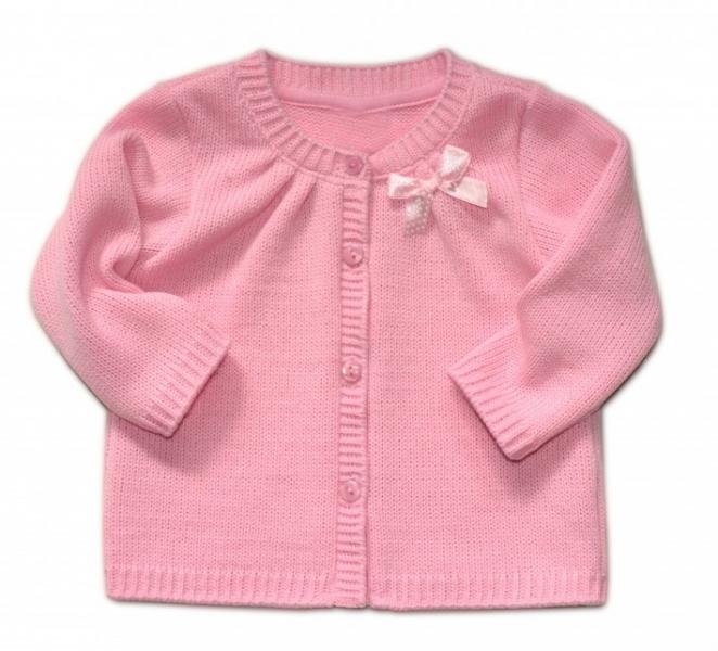Dívčí svetřík K-Baby s mašličkou - růžový, vel.