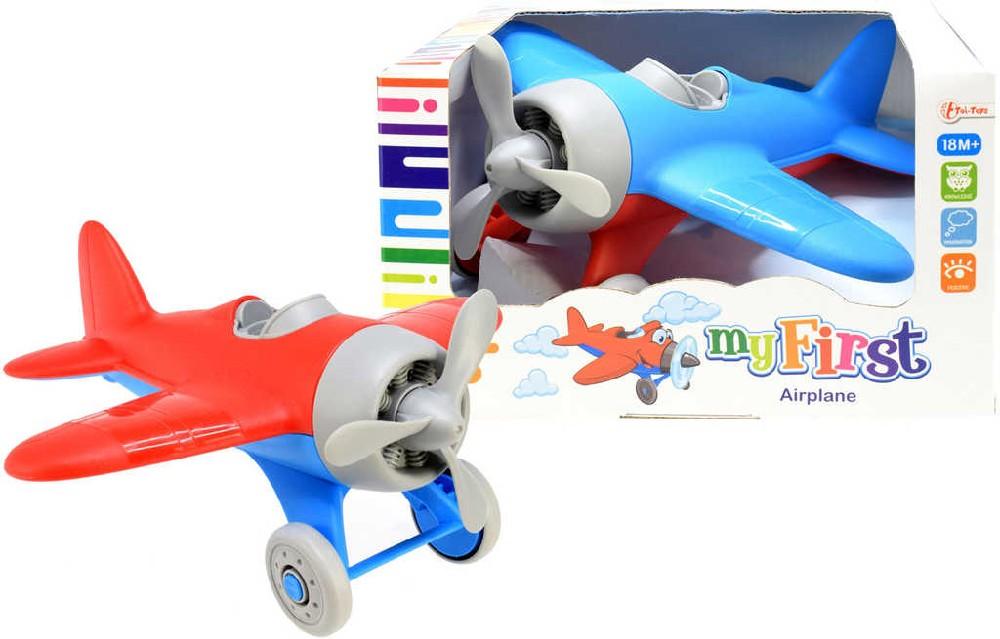 Baby moje první letadlo plastové 22cm volný chod 2 barvy pro miminko