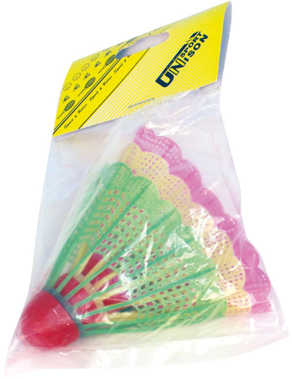 Košíčky na badminton barevné 11x17cm set 3 míčky v sáčku plast