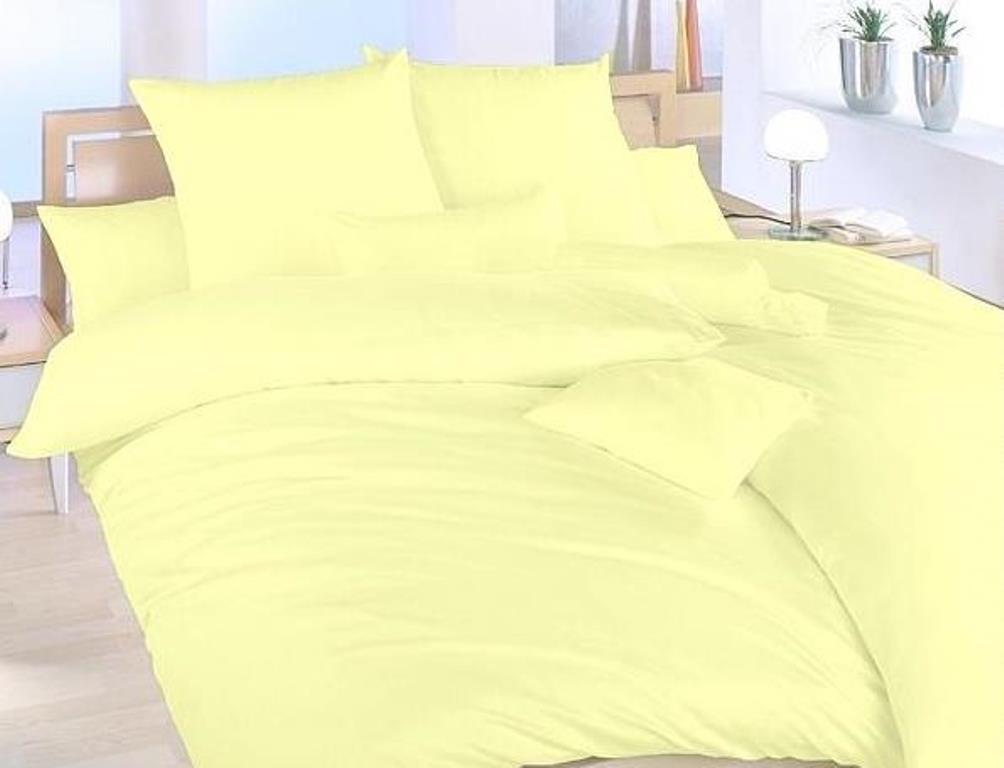 Povlečení bavlna UNI 140x200, 70x90cm Světle žlutá, Výběr zapínání: