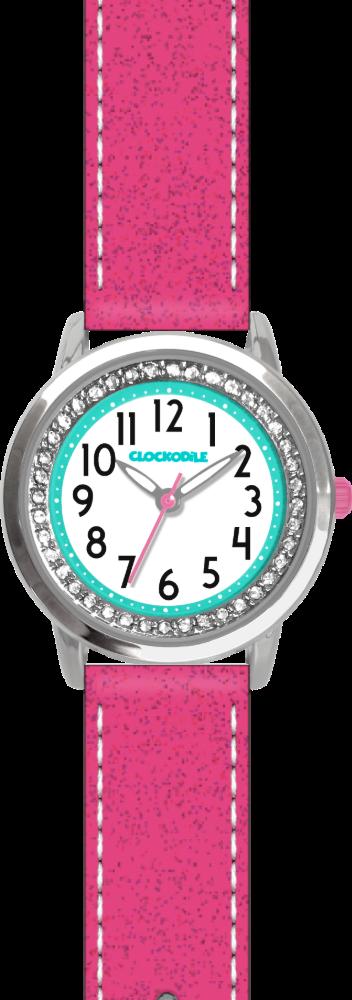 Růžové třpytivé dívčí dětské hodinky se kamínky CLOCKODILE SPARKLE