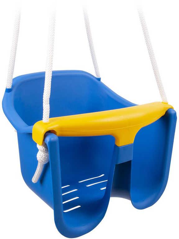 Baby houpačka plastová se zábranou Modrá skořepina závěsná pro nejmenší