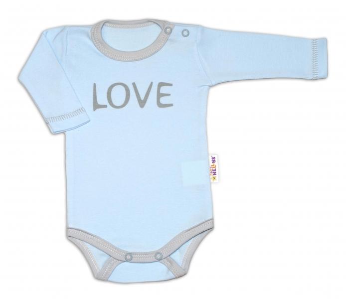 Baby Nellys Body dlouhý rukáv Love - modré - 50 (0-1m)