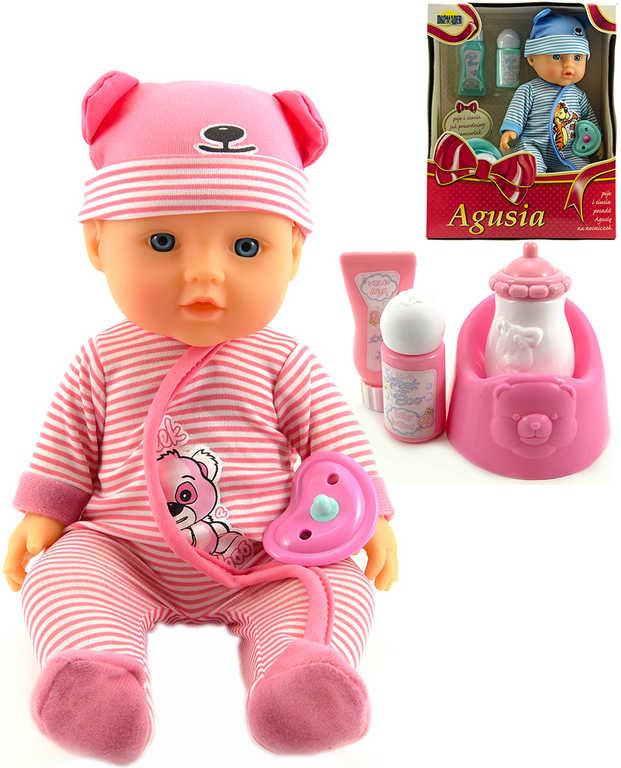 Panenka Agusia 27cm set miminko s doplňky pije čůrá 2 barvy v krabici