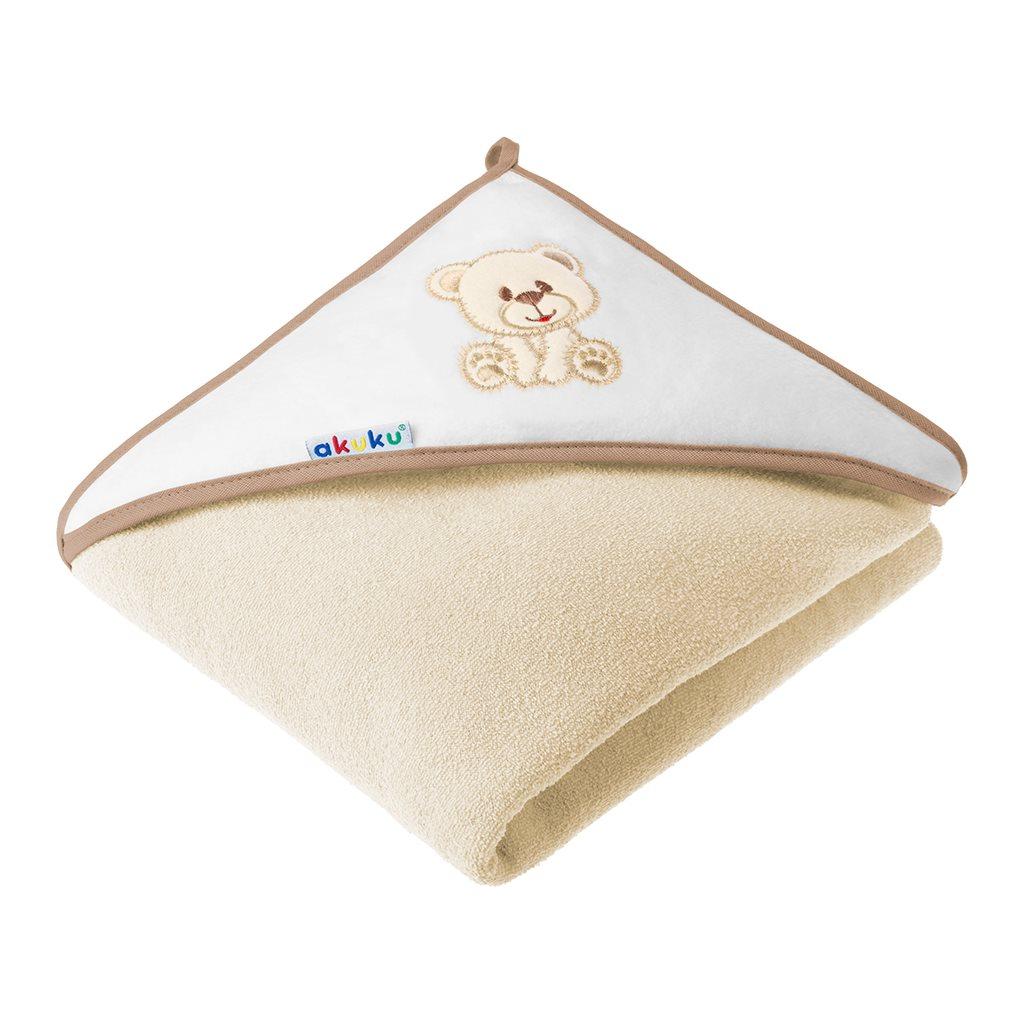 Dětská osuška 100x100 Akuku - s medvídkem - béžová