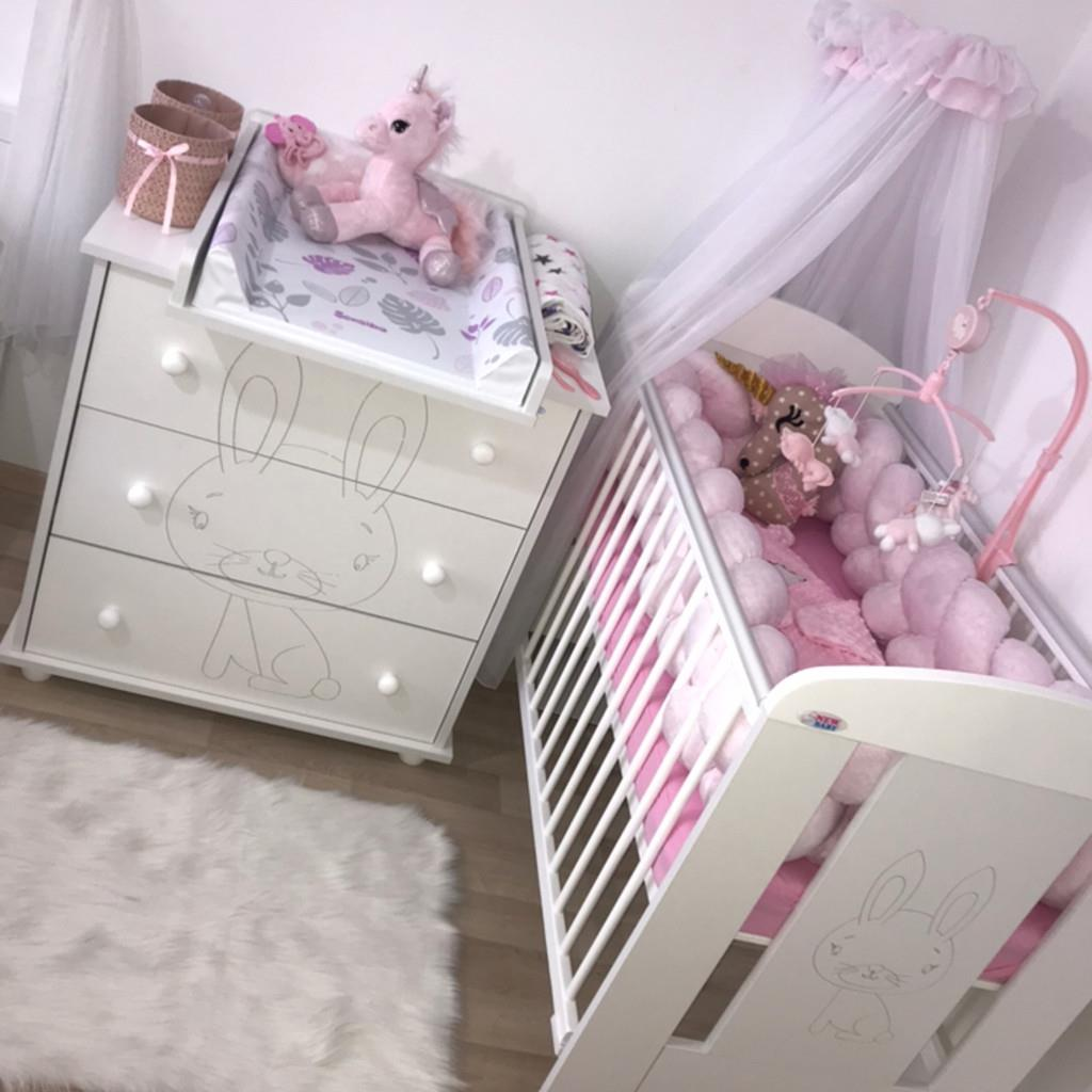 Dětská postýlka New Baby Králíček se šuplíkem - bílá