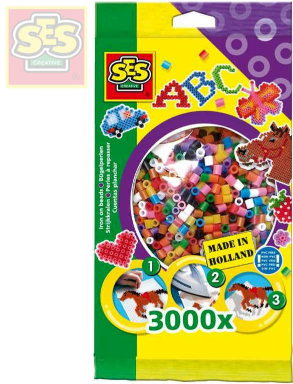SES CREATIVE Korálky zažehlovací pestré barvy set 3000ks v sáčku
