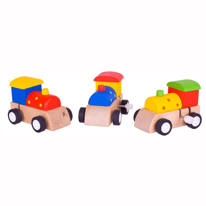 Bigjigs Toys Dřevěná barevná mašinka na natahování 1ks