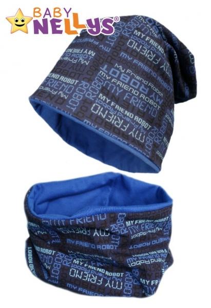 Bavlněná sada čepička a nákrčník s nápisy Baby Nellys ® - tm. modrá - 50/52 čepičky obvod