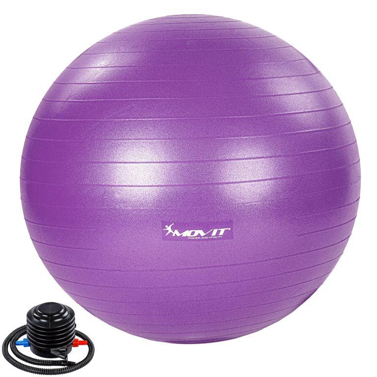 MOVIT Gymnastický míč s nožní pumpou, 75 cm, fialový