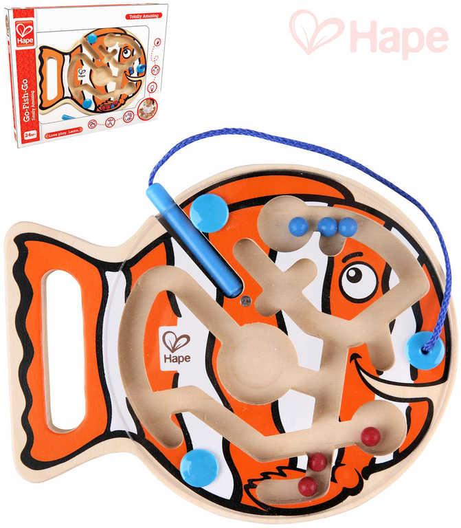 HAPE DŘEVO Baby labyrint kuličkový rybka s magnetickou hůlkou pro miminko